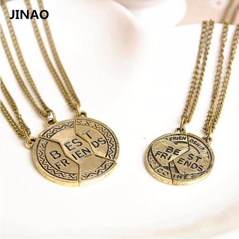 JINAO Jewelry New Fashion Broken Heart 2 Parts & 3Parts Ancient Best Friends Forever Pendants Silver Necklace For Unisex Gift(China (Mainland))