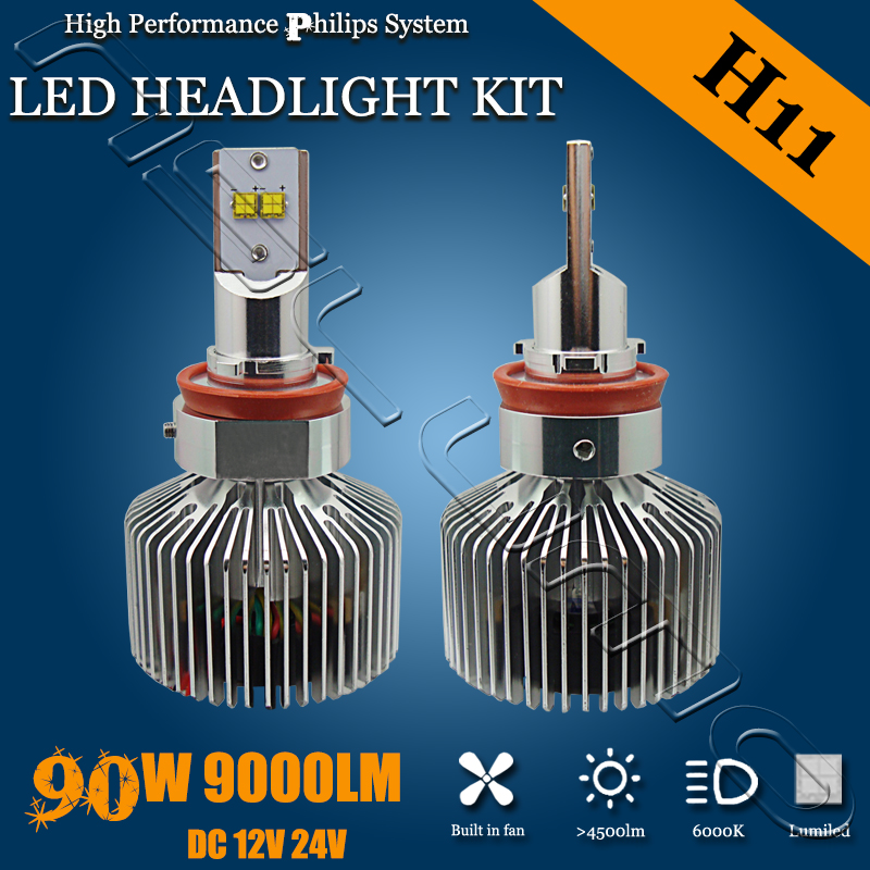 Фотография Factory Newest Wholesale price 9000LM adjustable H11 led headlight Auto lighting 90W H11 headlight led with Ph ilips chips
