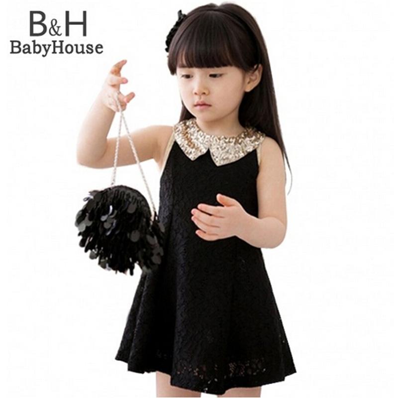 New Fashion 2016 Girls Clothes Tutu Dress Kids Clothing Princess Baby Girl Dress Sequins Collar Black White Party Dresses(China (Mainland))