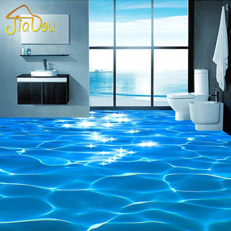 Custom photo floor wallpaper 3d sea water ripples hotel for Bathroom floor mural sky