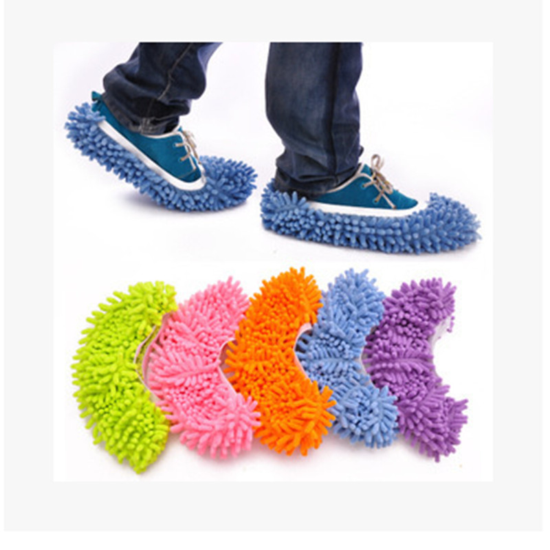 Multifunction Microfiber Chenille Floor Dust Cleaning Slippers Mop Wipe Shoes Wigs Home Clean Cover Mophead Overshoe 4pcs/a lot(China (Mainland))