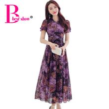 Floral Print Women Summer Dress Plus Size 2016 Casual Elegant Long Chiffon Dress Boho Style Bow Belt Beach Dress Women Vestidos(China (Mainland))