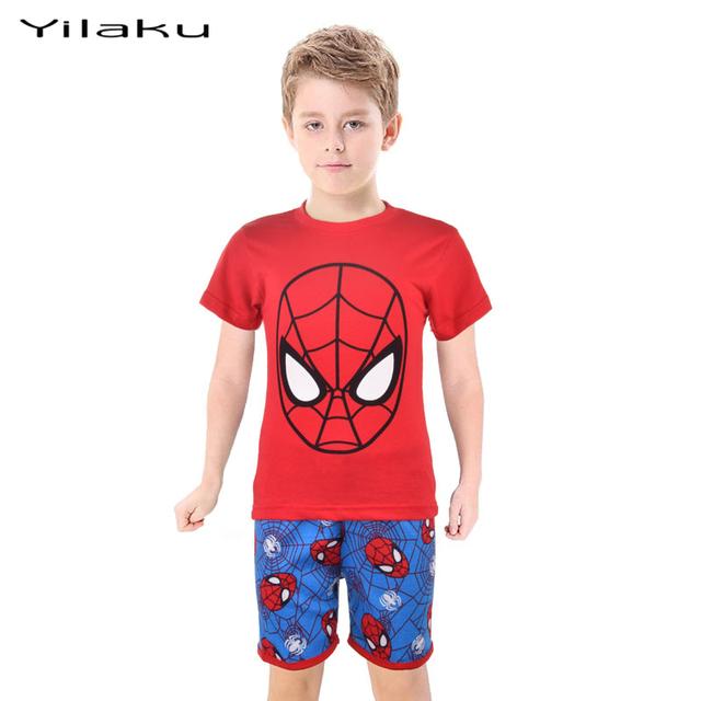 Человек паук дети пижамы Sets мальчик мультфильм Pijamas дети + шорты пижамы подходит летние мальчики пижамы одежды CF232