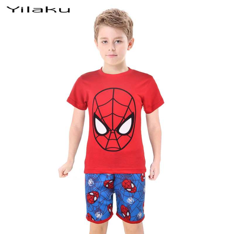 Spiderman Children Pajamas Sets Baby Boy Cartoon Pijamas Kids T-shirt+Shorts Pyjamas Suits Summer Boys Sleepwear Clothes CF232(China (Mainland))