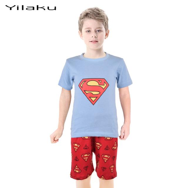 Супермен пижамы для мальчиков летние Pijamas комплект дети с коротким рукавом пижамы детский мультфильм пижама мальчик комплект одежды CF214