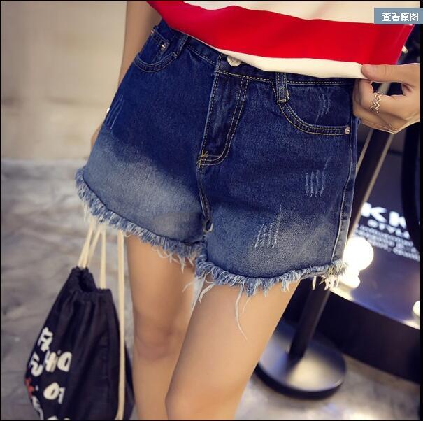 2016 spring new high waist skinny jeans zipper flash gradient denim shorts female tide Price: U(China (Mainland))