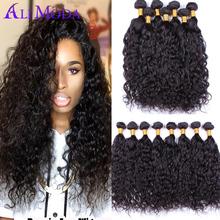 4 Bundles Ali Moda Malaysian Virgin Hair Water Wave 7A Unprocessed Wet and Wavy Human Hair Extension Malaysian Curly Hair Weave(China (Mainland))
