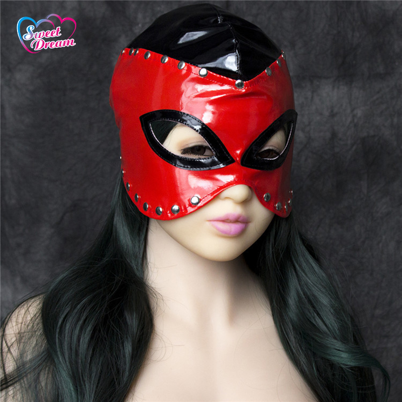 PU Leather Sex Queen Aura Masks/Hoods Open Eyes and Mouth Slave Sex Mask Fetish Erotic Toys Role Play Sex Toys For Couple DW-449(China (Mainland))