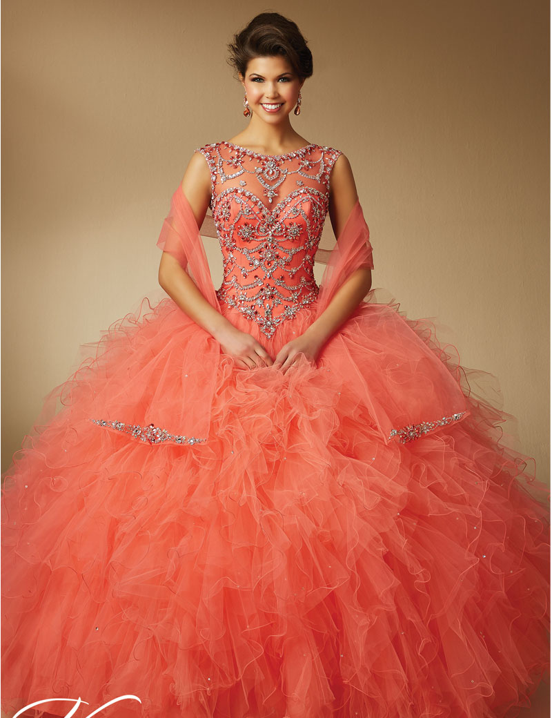 hot sale Ball Gown Beaded 2016 Coral Quinceanera Dresses ...