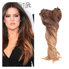 Full Shine Balayage Full Head Clips in Hair Extensions Human Hair Extensions Clip in Cheap Remy Real Hair Clip Extensions #4#8