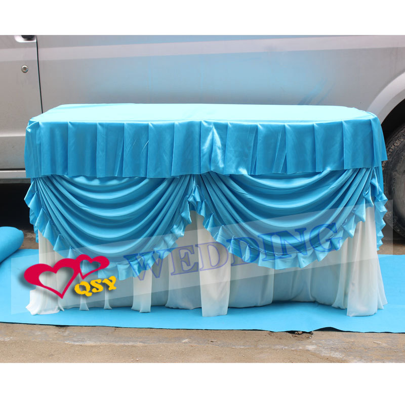 2016 hot sale finished red table skirt table cloth table cover for guest weclome easy to take folded table for tourism(China (Mainland))