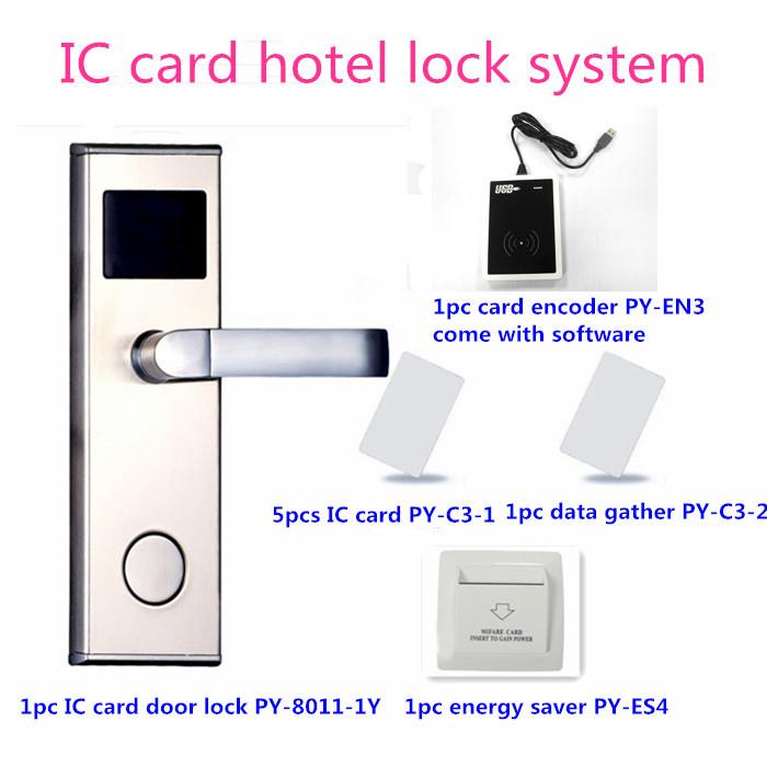 Alibaba express PROYU door entry handle hotel card key door lock system PY-8011-1Y(China (Mainland))