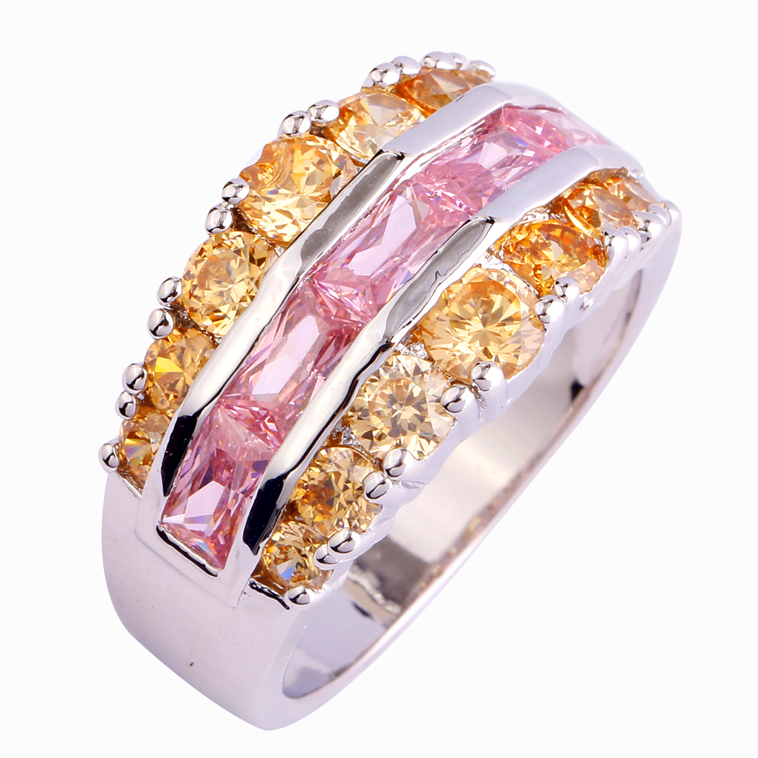 Wholesale Pink & Champagne 925 Silver Ring Pink White & Morganite Siz