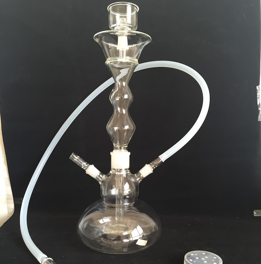 1 PC Top Fashion Glass Hooka Shisha for Smoking with Leather Case Nargile Water Pipe Glass Bowl and Hose Big Hookah Pipe(China (Mainland))