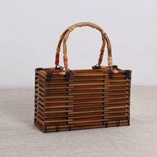 VWomen винтажная бамбуковая сумка на шнурке Женская пляжная соломенная сумка богемные полые женские вязаные сумки ручная работа плетёная рот...(China)