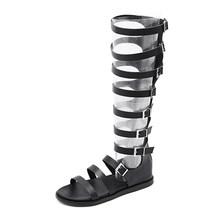 Gdgydh Yaz Çizmeler Kadın Gladyatör Ayakkabı Kadın Roma Stil Peep Toe Kadınlar Diz Boots Düz Topuk Fermuar Siyah gotik 2019(China)