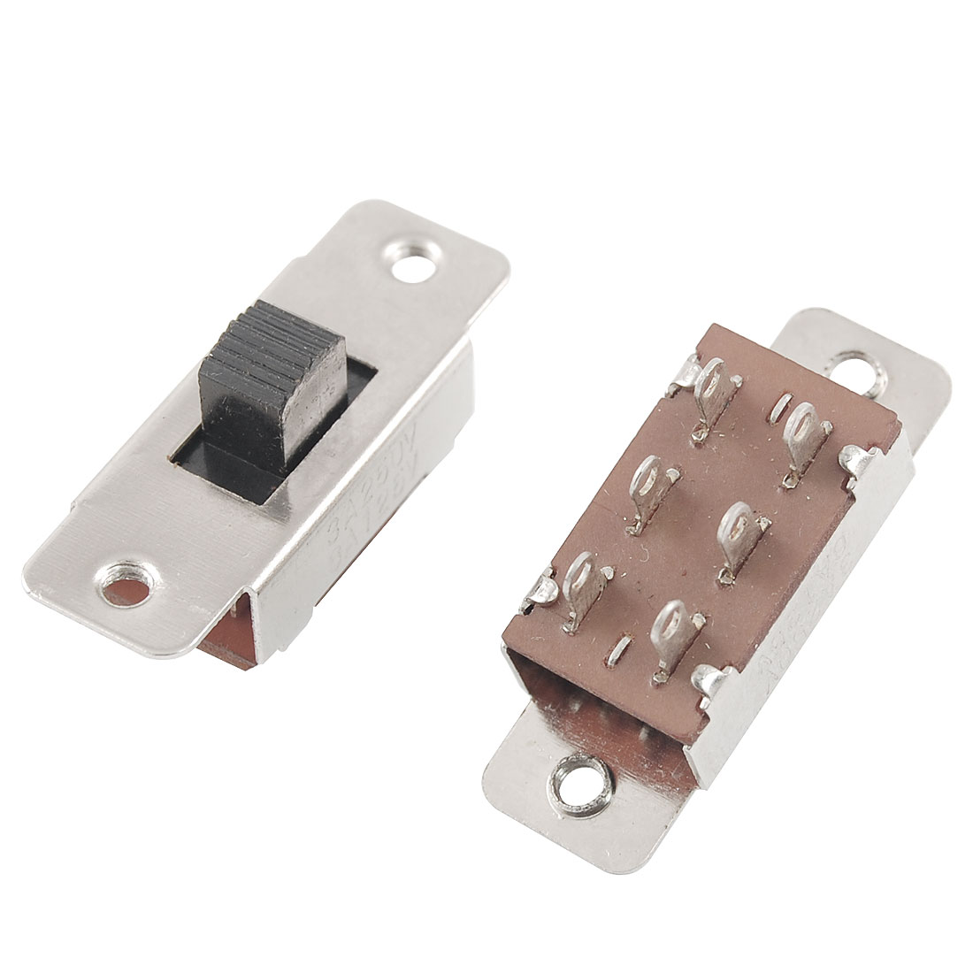 UXCELL 5 Pcs On/Off/On 3 Position Dpdt 2P2t Pcb Panel Slide Switch 6A/125V 3A/250V Ac(China (Mainland))