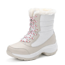 PINSEN 2019 Winter Frauen Schnee Stiefel Mid-Kalb Plattform Stiefeletten Lace Up Runde Kappe Flache mit Winter Warm pelz Stiefeletten(China)