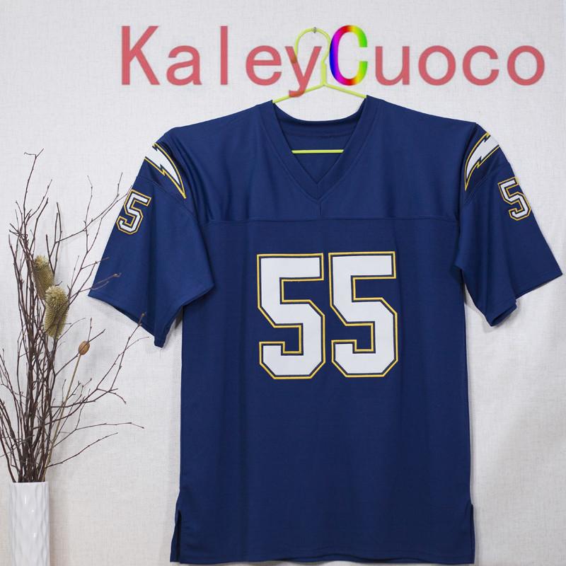 Retro star #55 Junior Seau Embroidered Throwback Football Jersey M&N 48 50 52 54 56 Jerseys(China (Mainland))