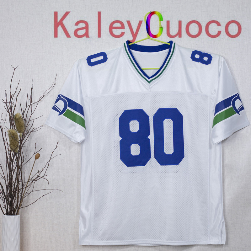 Retro star #80 Steve Largent Embroidered Throwback Football Jersey M&N 48 50 52 54 56 Jerseys(China (Mainland))