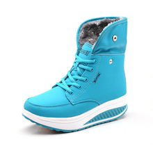 PINSEN Vrouwen Laarzen Met Bont Winter Enkellaars Wiggen Vrouwen Warme Schoenen Mode Snowboots Hoge Kwaliteit Bont Schoenen Vro schoeisel(China)