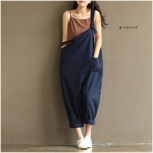 Moda caliente mujeres niñas suelta sólido mono Correa pantalones Harem pantalones de Mujer Pantalones casuales más tamaño M-3XL(China)